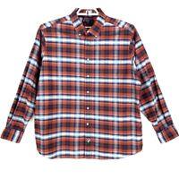 Cremieux Mens Oxford Shirt Red Plaid Long Sleeve Classic Fit 100% Cotton XL