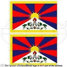 TIBET Tibetan Flag, Autonomous Region of China, Chinese Decals-Stickers 100mm x2