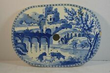 Antique Staffordshire Blue and White Pottery Drainer with Landscape