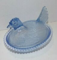 "Vintage Indiana Glass Light Blue Glass Chicken Candy Dish with Lid 7""x5.5""x5"""