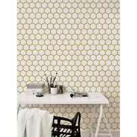 Golden geometric removable Wallpaper white Wall Mural Self Adhesive Peel & Stick