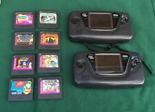 VINTAGE LOT 2 SEGA GAME GEAR PORTABLE VIDEO PLAYERS AND 8 GAME CARTRIDGES
