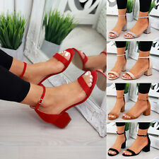 New Womens Mid Block Heel Sandals Peep Toe Ankle Strap Comfy Shoes Sizes 3-8