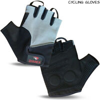 Mens Cycling Gloves Bike Fingerless Half Finger Bicycle Gel Silicone Sports Grey