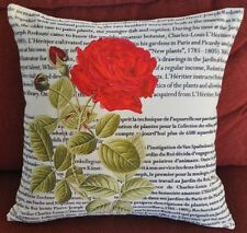 Vintage Linen Rose Cushion Cover/Pillow Case