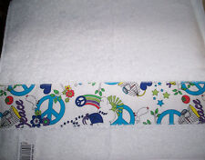 MY OWN HAND GYM TOWEL APPLIQUE BANDED  *Peace signs Doves Birds Sunshine White *