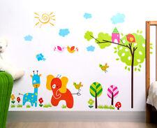Animals Tree Elephant Wall Sticker Removable Kids Nursery Room Decal Home Decor