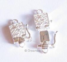 Sterling silver CZ Stone Pearl Lock Box Clasp 1 Strand