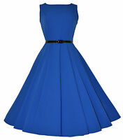 Vintage Retro 40's 50's Audrey Blue Mid Calf Rockabilly Swing Dress New 8 - 20