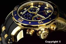 21929 New Invicta Scuba Pro Diver Chrono 18K Gold Plated Blue Dial S.S Poly Watc