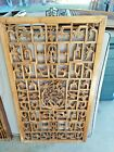 """Large 2 Sided Chinese Vintage Wood Carving Panel Window Shutter 21 1/2"""" x 37 1/4"""