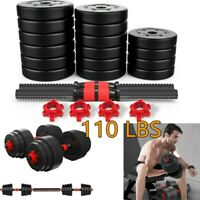 Totall 110 LB Weight Dumbbell Set Adjustable Cap Gym Barbell Plates Body Workout