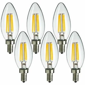 6x MaxLite LED Chandelier Bulbs 4W(40W) Enclosed Fixture Rated Dimmable E12 Base