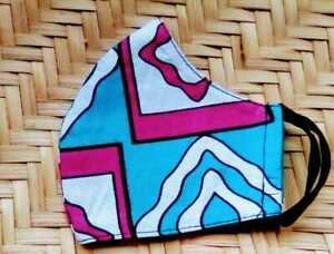 Face Mask Kids Age 10 -12 Washable Cloth Cotton Fabrics African Print Pink Blue