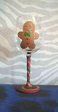 Christmas Gingerbread Man Large Glitter Wine Glass Handmade Gift