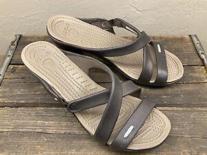 Womens Crocs Cyprus IV Heels Slide Sandals Espresso/Mushroom Brown Size 9