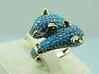 Turkish Handmade Jewelry 925 Sterling Silver Turquoise Stone Women Ring Sz 8