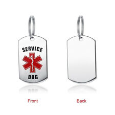Silver Service Dog ID Tags Personalized Front Back Stainless Steel Pendant Drop