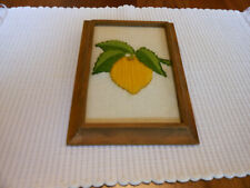 """Vintage Embroidered Yellow Lemon With Green Leaves In A 5"""" X 7"""" Frame"""