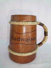 "Stein Budweiser Beer Open Shell Mug Figurine Braided Rope Line Handle 6""s High"