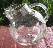 Vintage Etched Clear Glass Tilted Ball Jug 80 oz Pitcher Laurel Leaf Band NICE