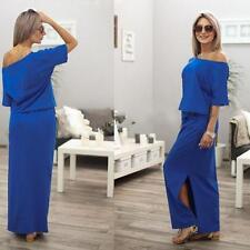 Women One Shoulder Summer Split Long Maxi Dress Ladies Party Beach Casual Dress