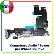"""Flex Flat Dock Connettore Ricarica Microfono Jack per IPHONE 6 PLUS 5,5"""" NERO"""