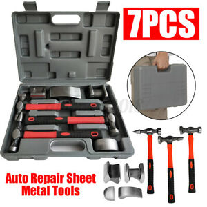 7Pc Car Body Repair Hammer & Dolly Kit Panel Beating Dent Ding Auto Tools +Case