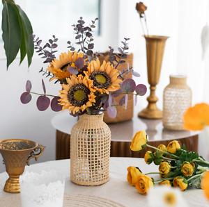 Glass Vase Wrapped with Straws Garden Flower Vase Dry Flower Vase