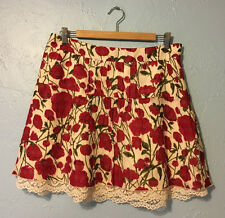 Anna Sui Womens 10 Anthropologie Red Poppy Floral Mini Skirt Cotton Silk Pockets