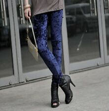 New Fashion Velvet Women Girls Rock Punk Funky Soft Stretch Leggings
