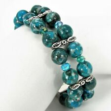 Tombolo Turquoise Leopard Jasper Bead Bacelet Double Strand Handmade #42