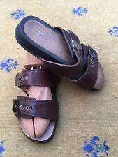 Miu miu by PRADA Sandalias flip flop para hombre Zapatos De Madera Marrón De Cuero UK 6 nos 7 EU 40