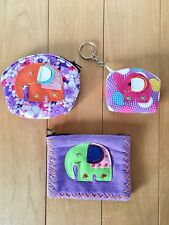 3 New Women's Multi Color Elephant Key Chain Credit Card Coin Purse Wallet Bag