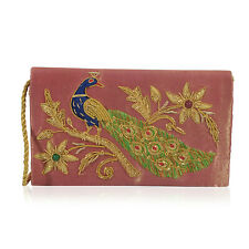 Golden and Fuchsia Velvety Embellished Evening Clutch Bag (8x4.5 in)