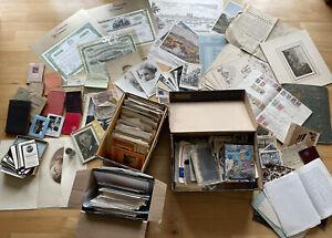 riesen Konvolut AK Briefmarken Aktien Sterbebilder Briefe Drucke Fotos Papier