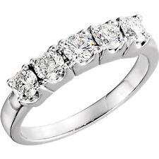 5 Round Diamond Band Wedding Anniversary Ring 0.25 ct each SI1 1.26 tcw