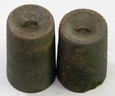 PAIR OF ANTIQUE OG WOODEN WORKS WEIGHT DRIVEN CLOCK WEIGHTS PARTS