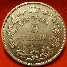 Belgium 5 Francs 1931 AU Coin KM# 97.1 5 FRANK Belgie NICE