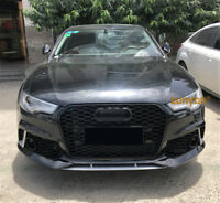 Full Black Front Mesh Grille Grill for Audi A6 C7 S6 2016-2019 To RS6 Style