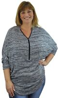 Ladies New Plus Size Loose Fit Casual Zip Detail 3/4 Sleeve Batwing Baggy Top