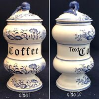 "Arn Art Blue Onion Coffee Canister 7.5"" Tall Japan Original Arn Art Creation"