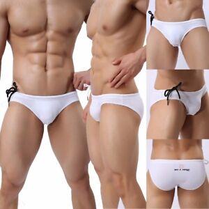 Men's Brand Sexy Swim Brief Swimwear Solid Color Low Waist Bikini Underwear S-XL