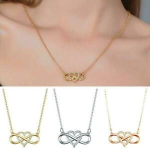 Fashion Rose Gold Heart-shaped Lucky Diamond Love Pendant Jewelry. Necklace G4A7