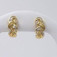 New 14k Gold 1ctw Round & Baguette Diamond Nice Quality Omega Back Earrings