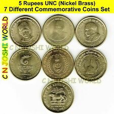 Very Rare 7 Different Nickel Brass 5 Rupees Commemorative Five Rupees Coins Set
