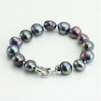 8-9mm Black Baroque Pearl Bracelet 7.5inch Silver Buckle Chic Accessories Chain