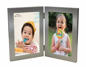 Silver Twin 2 Picture Vertical Double Hinged Folding Photo Frame 6 x 4 Gift 4x 6