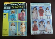 Uncut Butterick & Simplicity Clothing Patterns for 18 inch Doll Pjs Coat Dress