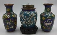 ANTIQUE CLOISONNE OPIUM LAMP SET with 2 Brass Vases Chinese Lotus Flower Motif